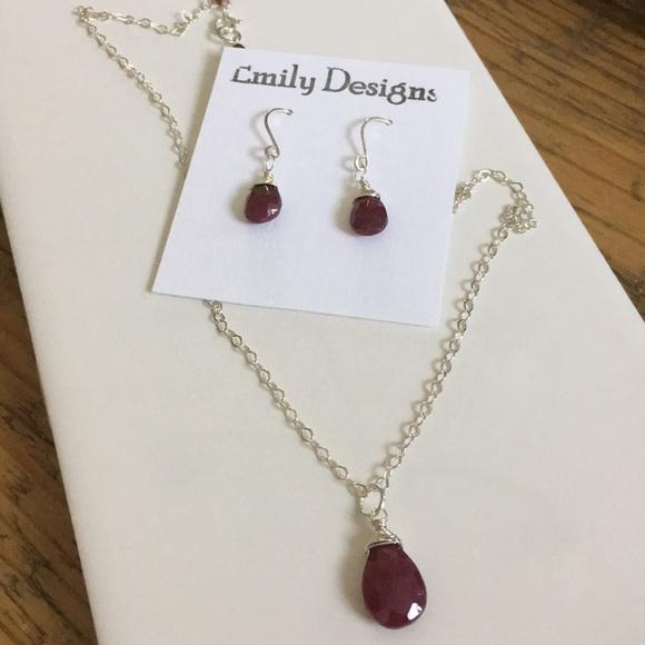 65e682c906274 Genuine ruby simple drop necklace earrings set